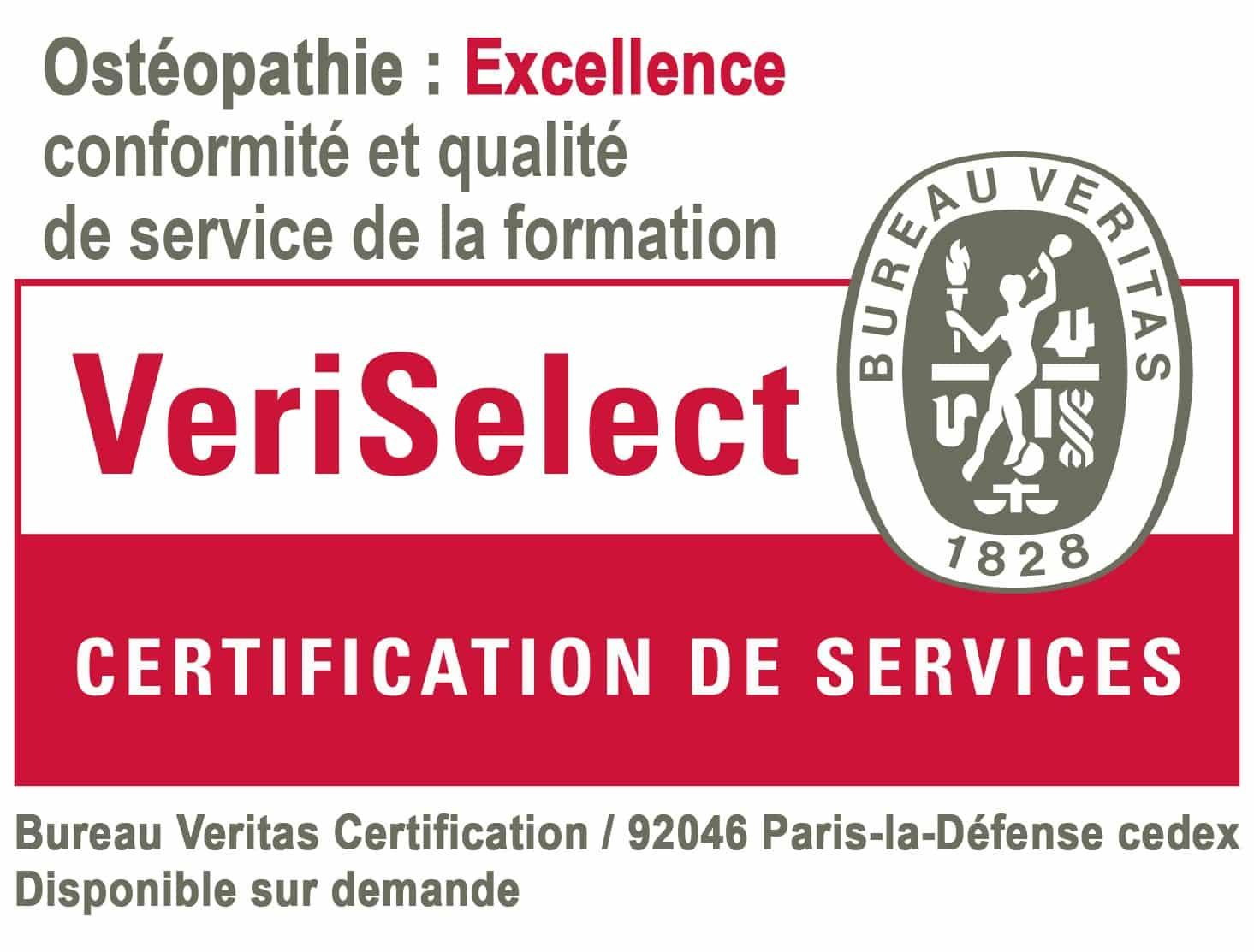 """Logo VeriSlect, certification de services. Ce logo certifie la formation en ostéopathie d'ISOstéo Lyon et la place dans la case """"excellence, conformité et qualité de service de la formation"""""""