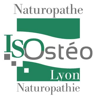 logo de la formation ISOstéo naturopathe, couleurs vert foncé et gris