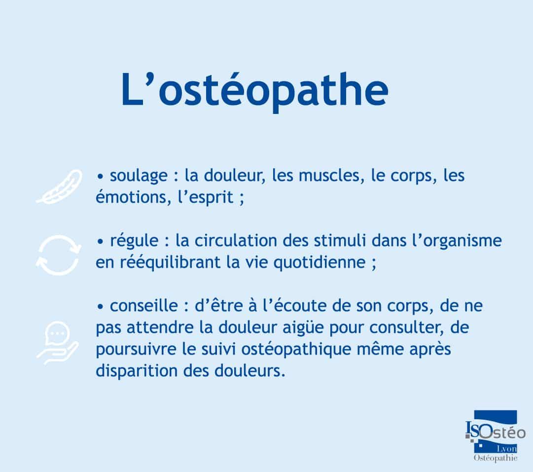 l'ostéopathe soulage, régule et conseille afin d'optimiser la bonne santé de ses patients dans la durée